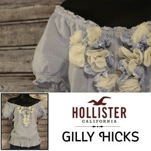 3/30<>O-T-S Pinstripe Floral Top by Gilly Hicks